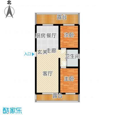 阳光小镇95.40㎡两室两厅一厨一卫95.4平户型2室2厅1卫