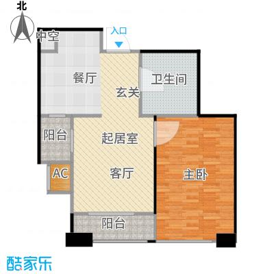 大连天地・悦翠台Style55.00㎡一室一厅一卫户型1室1厅1卫