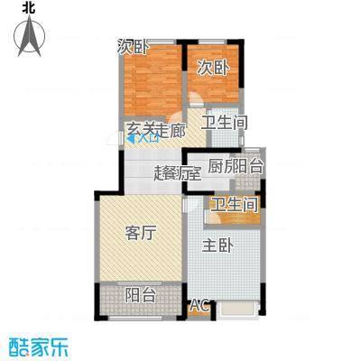 中海紫御江城139.00㎡B2户型三室两厅两卫139㎡户型3室2厅2卫