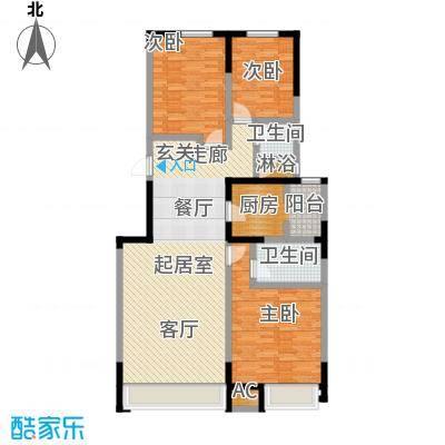 中海紫御江城131.00㎡三室两厅两卫131平户型S
