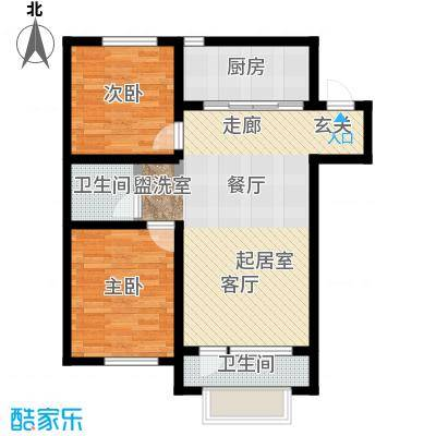 大连玉龙湾89.00㎡C1.2-D1二室二厅一卫户型S
