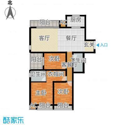 证大多伦多花园A型三室两厅两卫162.00㎡户型图户型3室2厅2卫