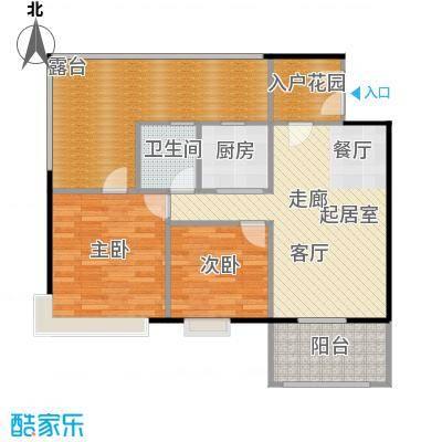 半岛阳光91.00㎡B2户型两房两厅户型2室2厅1卫