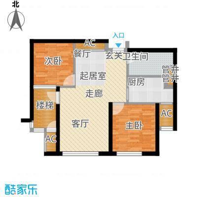 大连天地・悦翠台高层户型2室1卫1厨