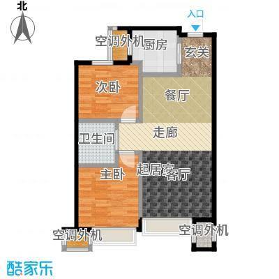 远洋荣域88.00㎡D3两室两厅一卫88平米户型图户型2室2厅1卫