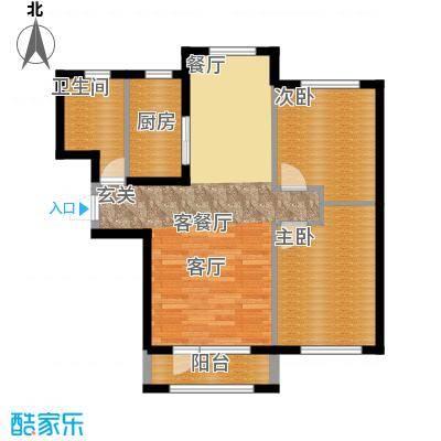 鸿玮澜山二期和院84.00㎡F户型 约84平米 两室两厅一卫户型图户型2室2厅1卫