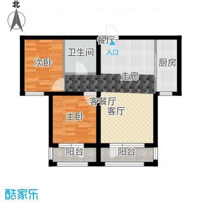 鸿玮澜山二期和院75.00㎡D户型 约75平米 两室两厅一卫户型图户型2室2厅1卫