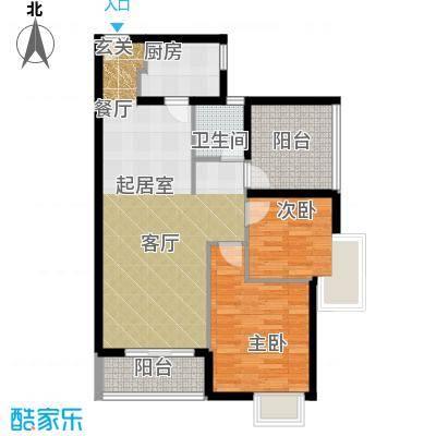 鼎峰尚境89.00㎡A052+户型2室1卫1厨