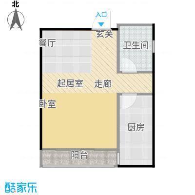裕联置地广场54.00㎡A户型一室一厅一卫54平米户型图户型1室1厅1卫