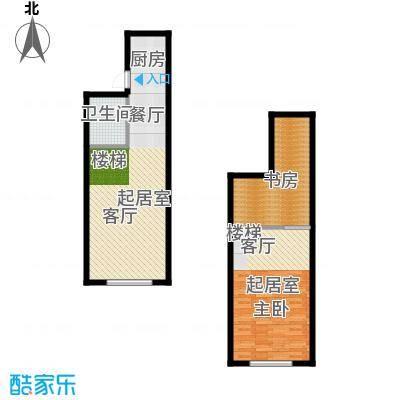 上品公馆54.00㎡54平米户型图户型2室2厅1卫