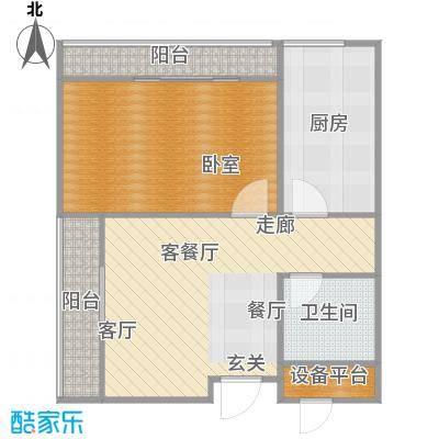 裕联置地广场59.00㎡B户型一室一厅一卫59平米户型图户型1室1厅1卫