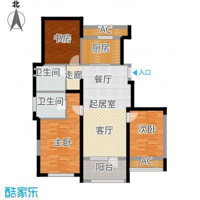 保亿丽景山116.16㎡二期洋房户型3室2卫1厨