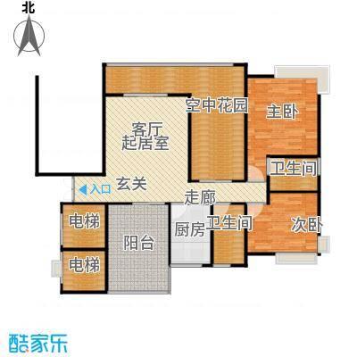 新世纪星城海涛居111.53㎡1-3栋3、4单元B12室户型2室2卫1厨