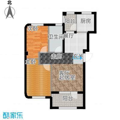 中冶蓝城76.00㎡两室两厅一卫76平米户型图X