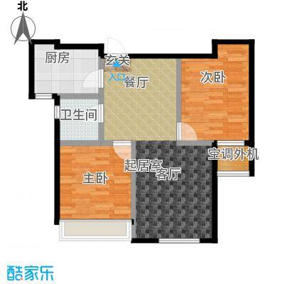 远洋荣域75.00㎡B2两室两厅一卫75平米户型图户型2室2厅1卫