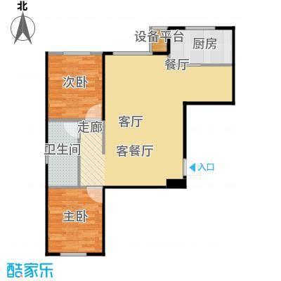聚缘福地79.03㎡A户型两室两厅一卫户型2室2厅1卫