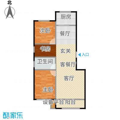 聚缘福地E户型三室两厅一卫户型3室2厅1卫