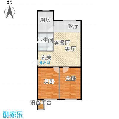 聚缘福地H户型两室两厅一卫户型2室2厅1卫