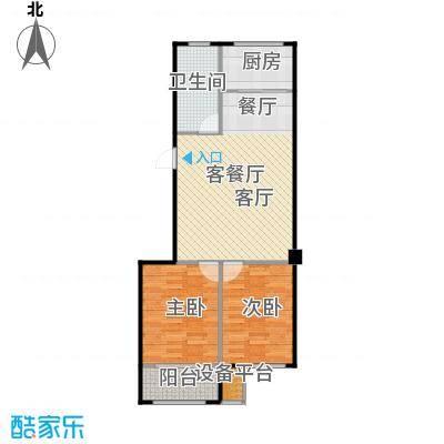 聚缘福地B2户型两厅两室一卫户型2室2厅1卫