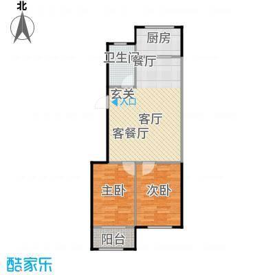 聚缘福地B1户型两室两厅一卫户型2室2厅1卫