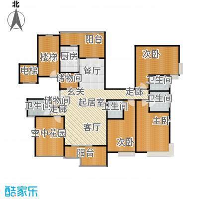 新世纪星城海涛居216.18㎡6栋7栋1、2单元D13室户型3室4卫1厨