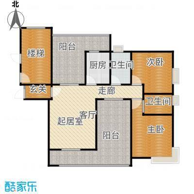 新世纪星城海涛居113.25㎡户型2室2卫1厨