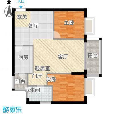 九龙1号C栋标准层04户型2室1卫1厨