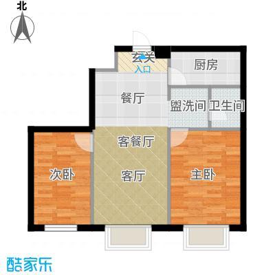 金丰大厦83.82㎡B户型2室1厅1卫1厨 83.82㎡户型