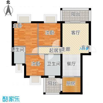 九龙1号B栋02户型3室2卫1厨