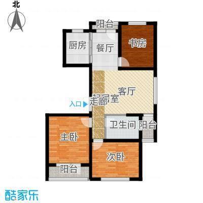 中铁琥珀湾100.00㎡B户型100-106平米三室两厅一厨一卫户型图户型3室2厅1卫