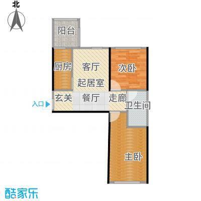 青国青城66.00㎡两室两厅一卫66平米户型图户型2室2厅1卫