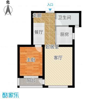 中铁琥珀湾64.00㎡D户型64-67平米一室两厅一厨一卫户型图户型1室2厅1卫