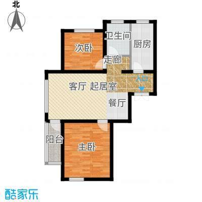 中铁琥珀湾76.00㎡C户型76-78平米两室两厅一厨一卫户型图户型2室2厅1卫