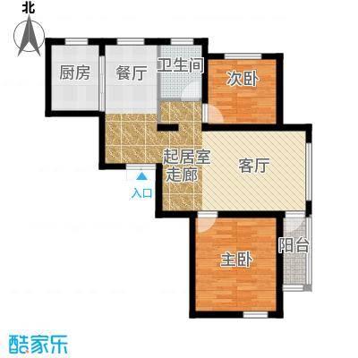 中铁琥珀湾87.00㎡E户型87-89平米二室两厅一厨一卫户型图户型2室2厅1卫