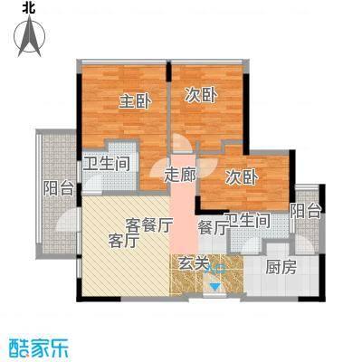 中央财津89.00㎡户型3室1厅2卫