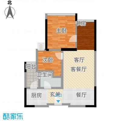 中央财津65.00㎡户型2室1厅1卫