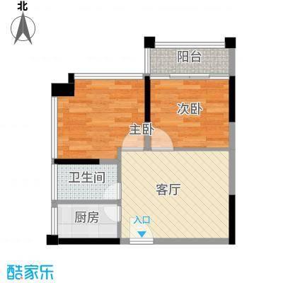 汉唐蜜园41.66㎡A户型2室1厅1卫1厨