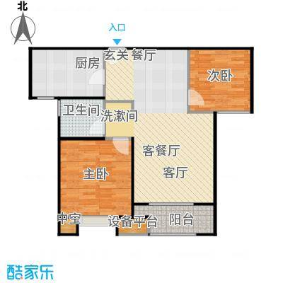 景瑞望府80.00㎡二期80平米户型2室2厅1卫