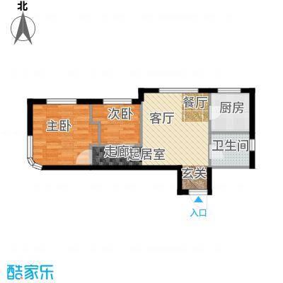 御园61.84㎡二室一厅一卫61.84平米户型图户型2室1厅1卫