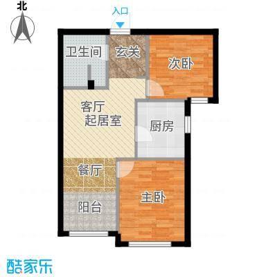 御园83.82㎡二室两厅一卫83.82平米户型图户型2室2厅1卫