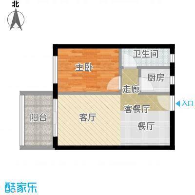 虎门国际购物中心46.23㎡户型1室1厅1卫1厨
