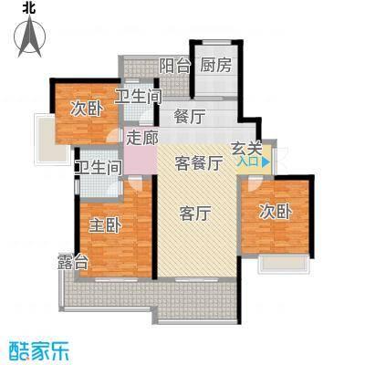 湖景壹号庄园20、22栋户型3室1厅2卫1厨