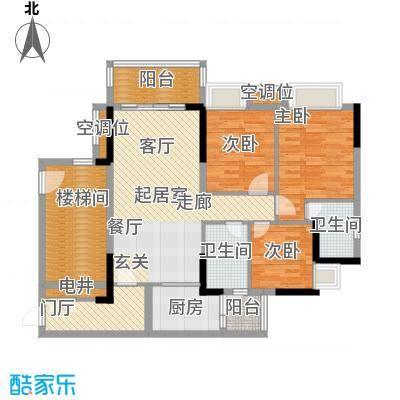 保利花园97.00㎡5号楼二梯01单元户型3室2厅2卫