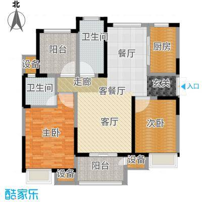 绿洲天逸城123.86㎡9号楼G户型123.83平米户型3室2厅2卫