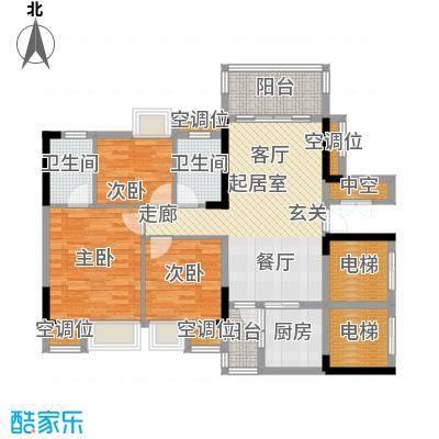 保利花园98.00㎡2号楼二梯04单元户型3室2厅2卫