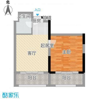 恒大金碧天下D8型D户型1房 65.337平米户型