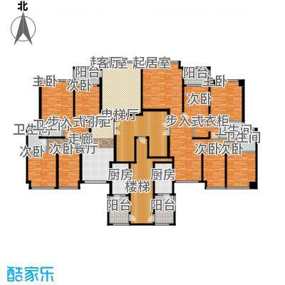 恒大华府3栋1单元标准层平面示意图户型8室4卫2厨