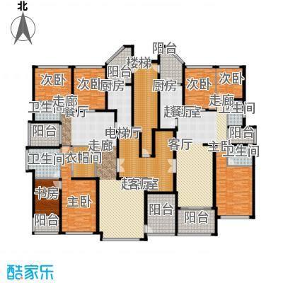 恒大华府1栋1单元标准层平面示意图户型7室4卫2厨