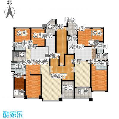 恒大华府2栋1单元标准层平面示意图户型7室1厅4卫2厨