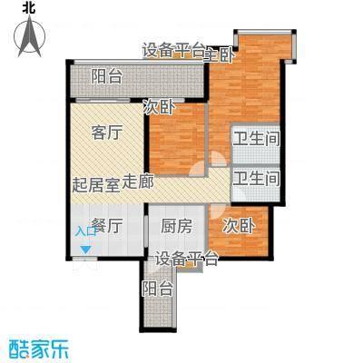 富盈东方华府三期紫峰111.69㎡户型3室2卫1厨